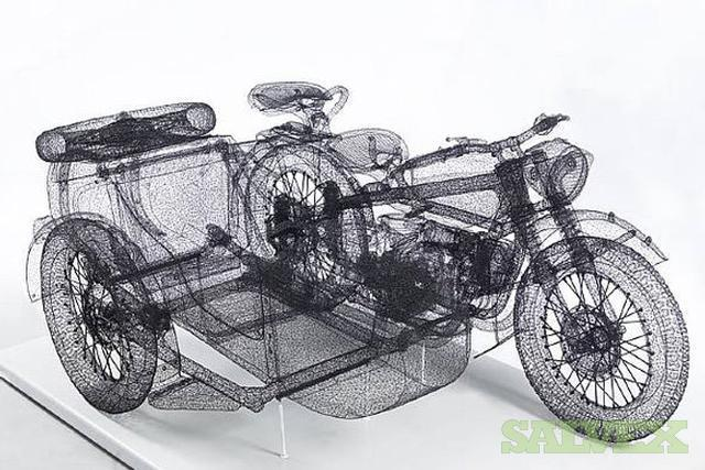 Important Surreal Motorcycle Sculpture - Chandiang River 750 by Shi Jindian