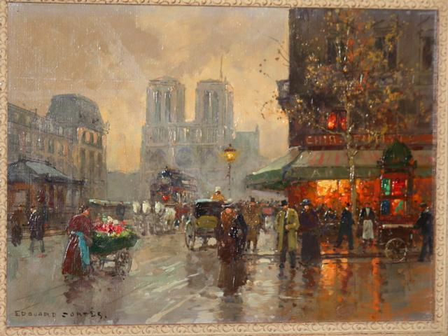 Notre Dame Cathedral in 1900 by Edouard Cortes - Oil on Canvas