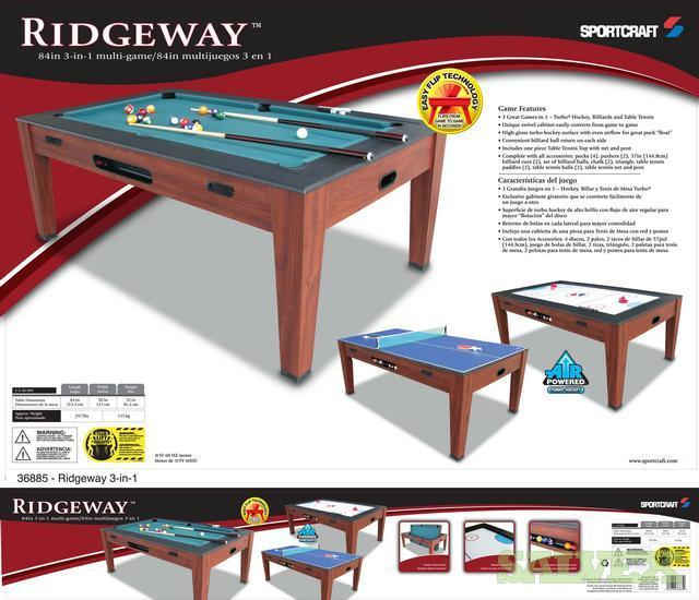 The Ridgeway 3 In 1 Swivel Entertainment Table Billiards / Table Tennis /  Air Hockey | Salvex