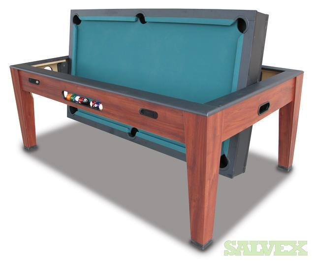 The Ridgeway 3 In 1 Swivel Entertainment Table Billiards / Table Tennis /  Air Hockey
