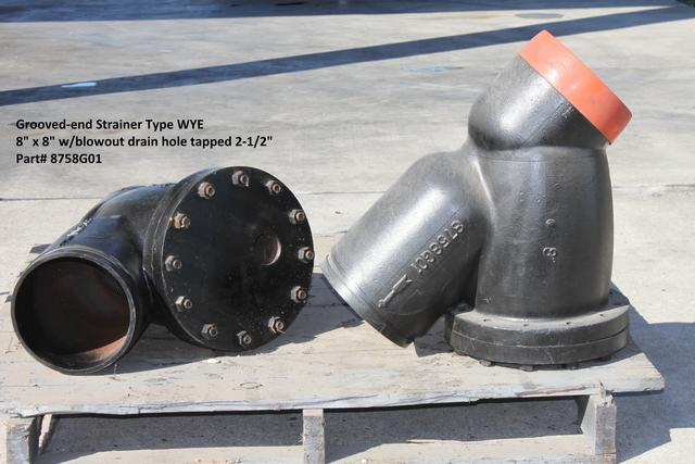 8 Wye Strainer  w/groove end connection w/2-1/2 drain plug tapped