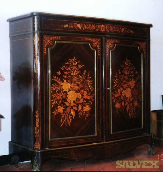 Original French Wooden Marquetry Cabinet -- 19th Century
