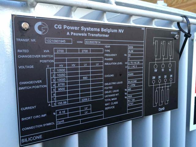 Pauwels Transformer 2700 Kva 10kv 690volt New Salvex
