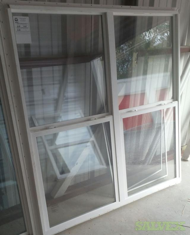 Twin Vinyl White Windows 30x60, Vertical Sliding, No Grid Clear, PSF 58 Rating