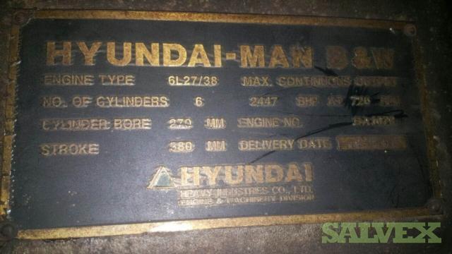 2001 Hyundai MAN B&W 6L27/38 Marine Engines (1900 KVA) 2 Units