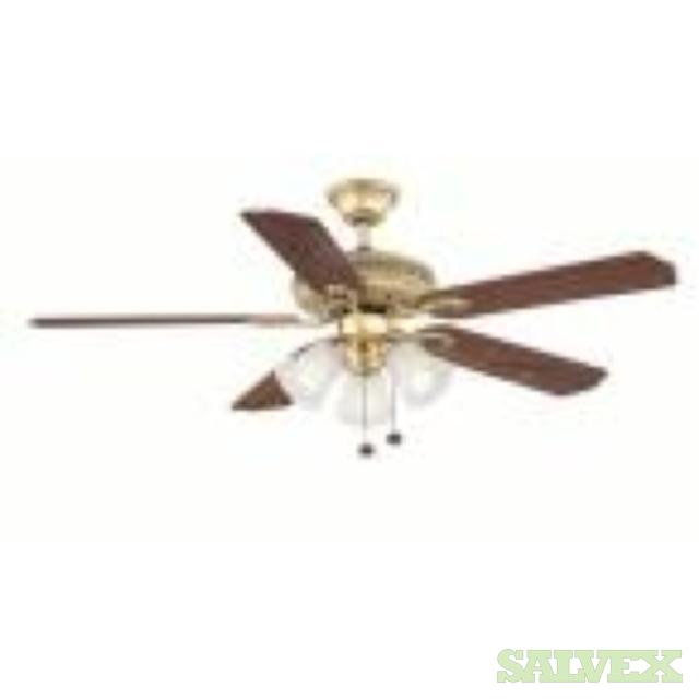 Hampton Bay Glendale Ceiling Fan 52, Flemish Brass and Frosted Glass Shades (25 Units)
