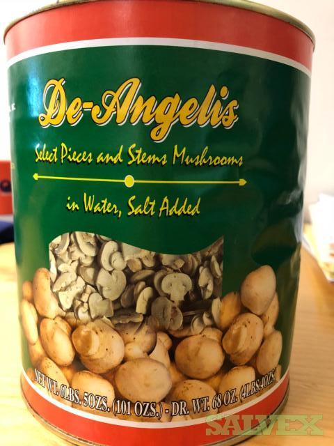 De Angelus Canned Mushrooms Stems and Pieces 62oz, #10 Cans-  945 Cases