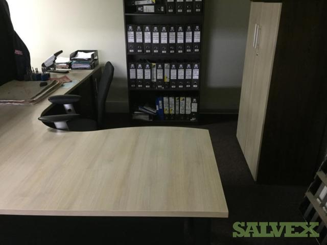 Office Furniture: Bookcase, Cupboards, Chairs, Credenza - Flood Claim (31 Items)