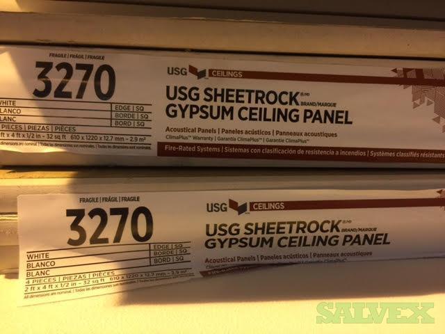 USG 3270 Sheetrock Ceiling Panels, Gypsum Panel, White (200 Pieces)