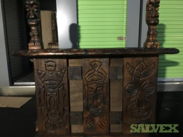 Antique Hand Carved Bar and Stools, and Other Furniture (12 Units)