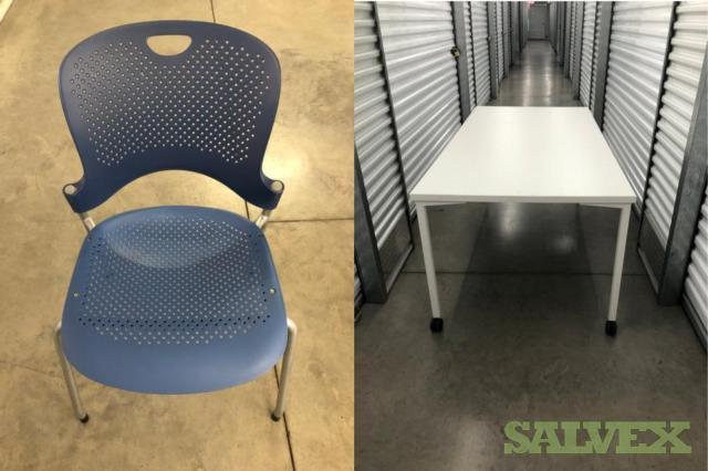 Herman Miller Stack-able Caper Chairs  and Herman Miller Everywhere Tables 72 x 36 (29 Units)