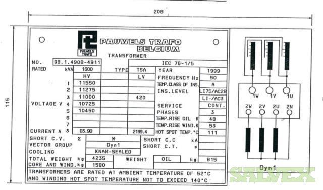 Low Voltage Transformer 1.6 MW - 11/0.4 KV