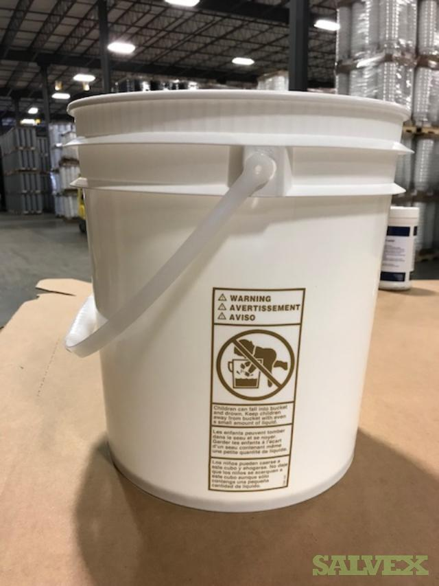 White Plastic Buckets with Plastic Handles 4.5 Gallon - 15,000 Units