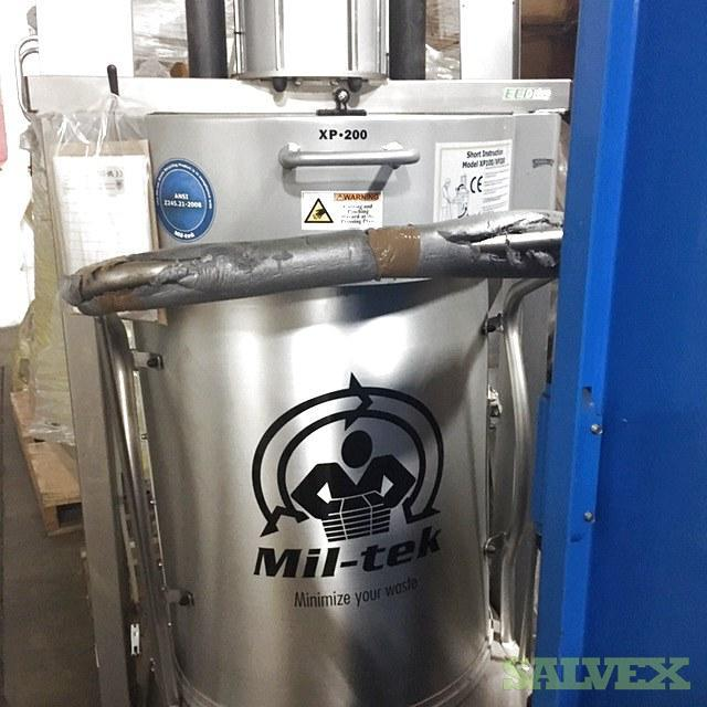 Mil-tek Trash Compactors (5 units) NEW Plus Lift Trolley (2 units) & Supplies