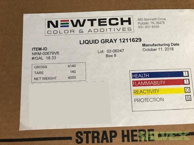 Newtech Liquid Gray-C Color Additive - Used in Thermoplastics (40,000 Lbs)