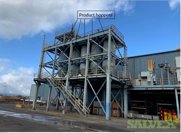 Glassification Plant Equipment and Baghouse: Shaker, Hoppers, Vibrators, Conveyors, Valves, Transformers (55 units)