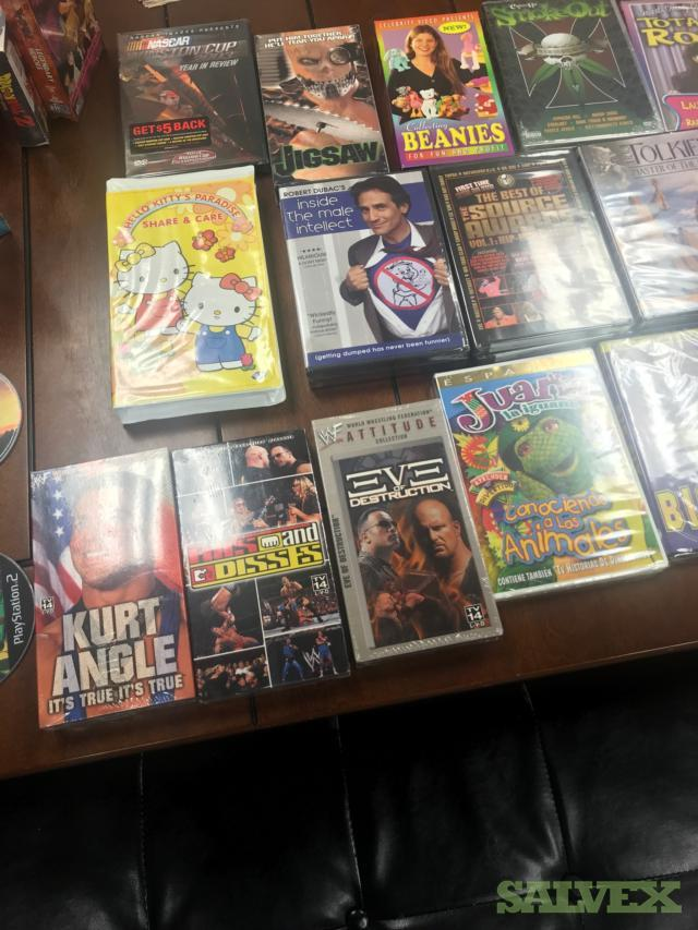 DVDs: WWF, NASCAR, and Movies (160 Pallets / 4 Trailer Loads)
