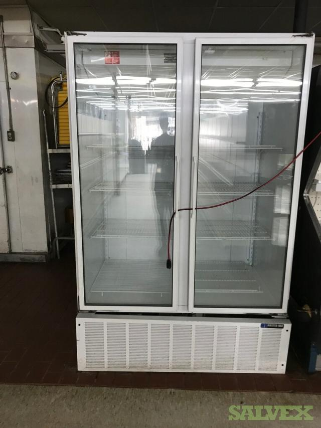 Food Refrigeration Units: Kyser Open Merchandiser M4A1-12UN, 2017 12' Butcher Glass Case BDL-12R, Masterbilt BMG-48 2-Door Glass Merchandiser (3 Units)