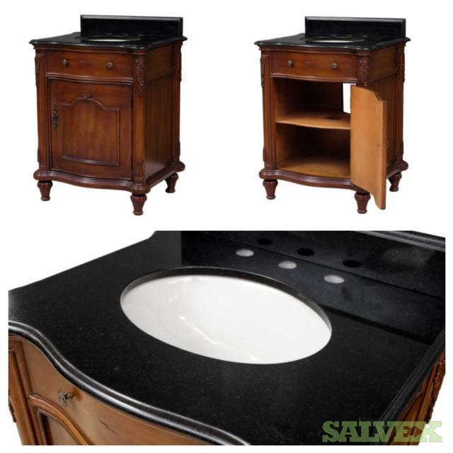 28.5 Furniture Style Bathroom Vanities with Granite Tops (10 pieces)