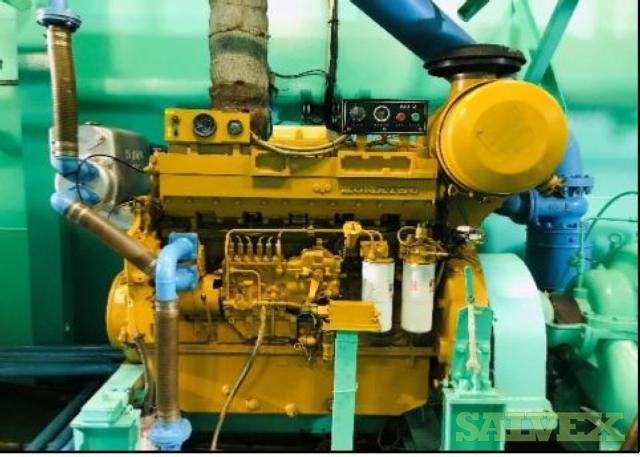 Komatsu SA6D140B Diesel Engine and Torishima CDM 300x200 Pump (2 Items)