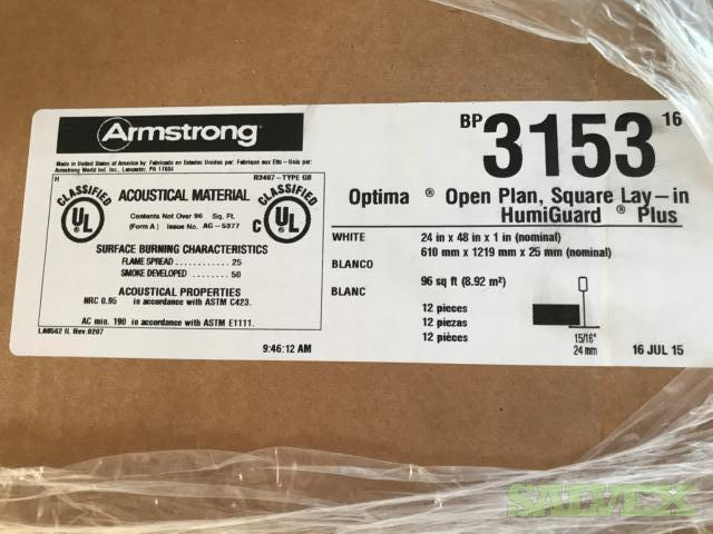 Armstrong Ceiling Tile 3153 48L x 24W Optima Flat (White) 12PK (72 Factory Sealed Cartons) in California