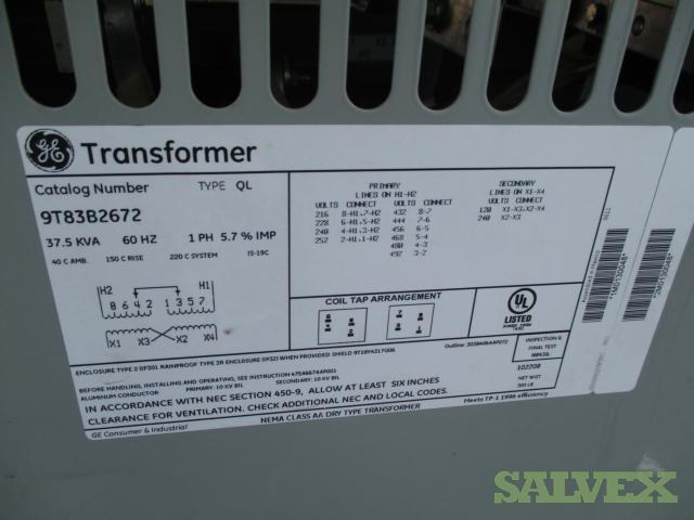 XFMR 37.5 KVA  480/240-120/240 Dry Type (1 Unit)