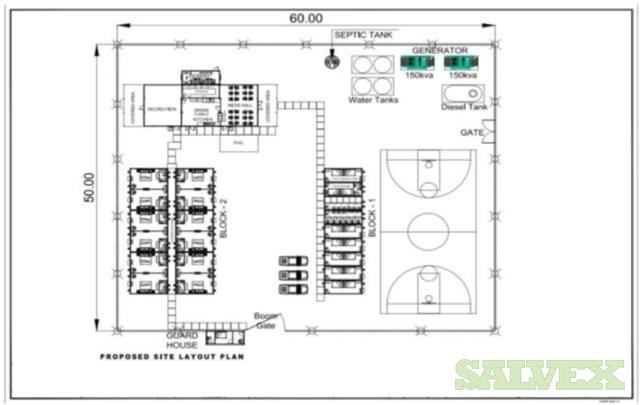 Temporary Rig Camp: Crew Rooms, Showers, Toilet Recreational, Laundry, Mess Hall, Guard House