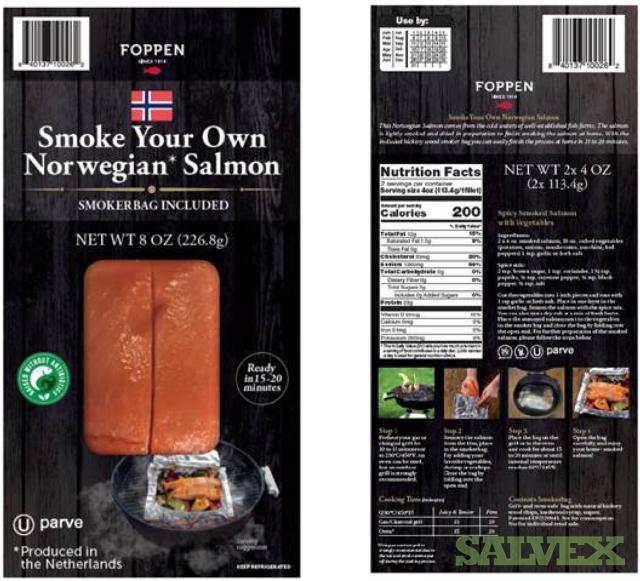 Foppen Norwegian Salmon 8oz Packs - Smoke Your Own Salmon / Smokerbag Included (3,880 pieces)