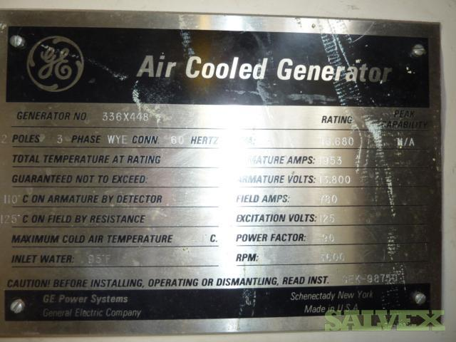 GE Generators GEK-98750, Air Cooled, Wye, 3ph, 60Hz, 3600rpm, 46,680kVA, Year 1991 -