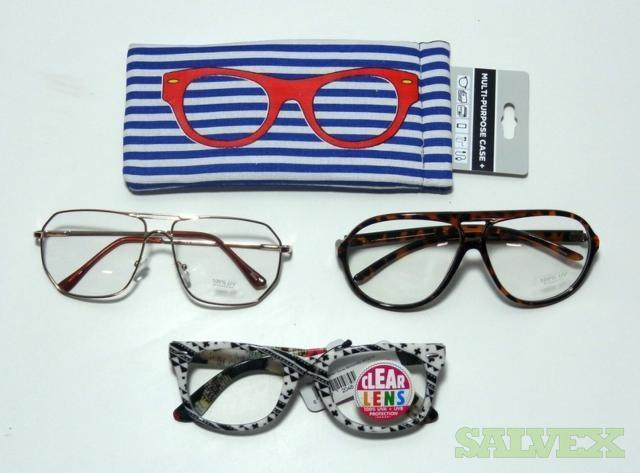 Assorted Clear Lens Fashion Eye Glasses and Soft Snap Fabric Glasses Cases (7,500 Units)