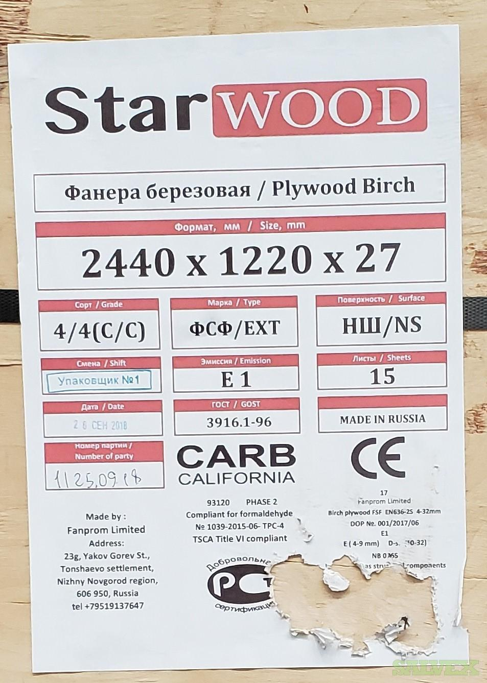 C/C Russian Birch Plywood 27mm 4'x8'   -  Approx 1,080 sheets / (3 Truckload) in Maryland