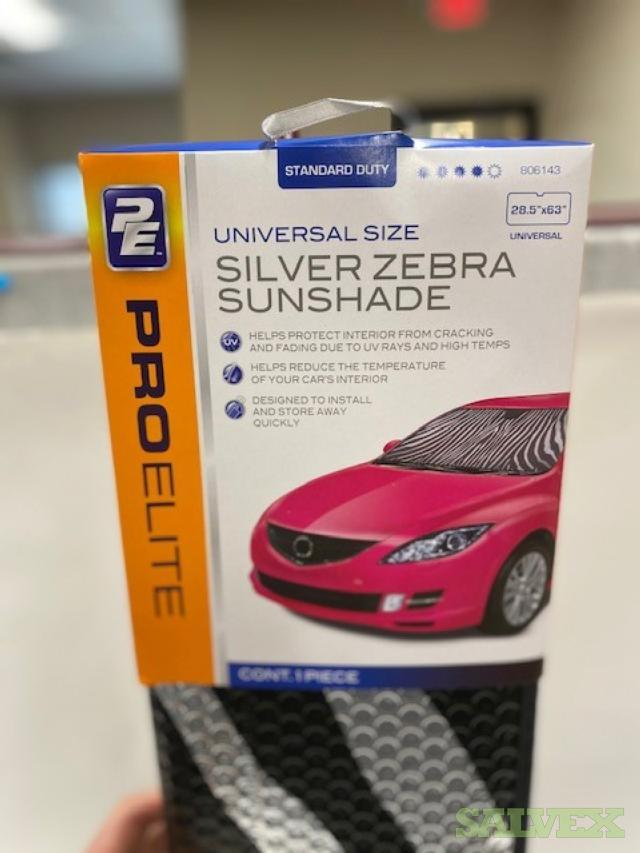 ProElite Universal Size Silver Zebra Sunshades (New In Master Cartons)- 1512 Total Pcs in Ohio