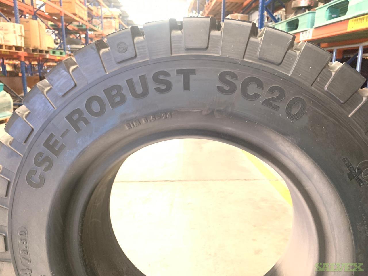Tires: Super Elastic Continental Solid // Sizes: 250/70 - 15 & 12.00/R24 - 8.5A (53 Tires)