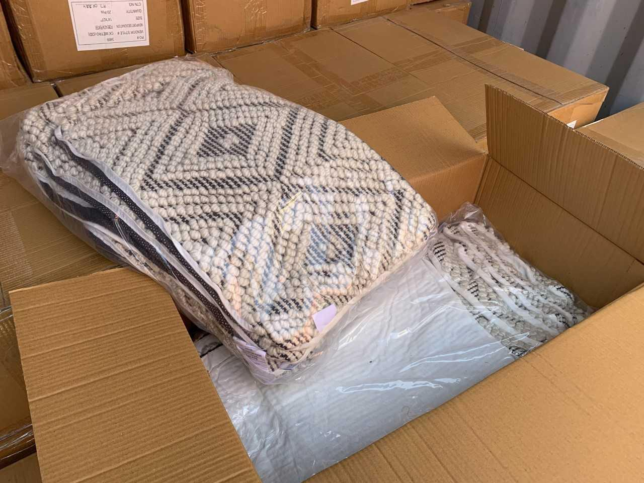 Powerloom & Woven Made ups / Cushion Covers - 3 abandoned Containers