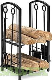 Tubular Steel Log Hoop, Wrought Iron Fireplace Tool Set, Outdoor Log  Rack and more