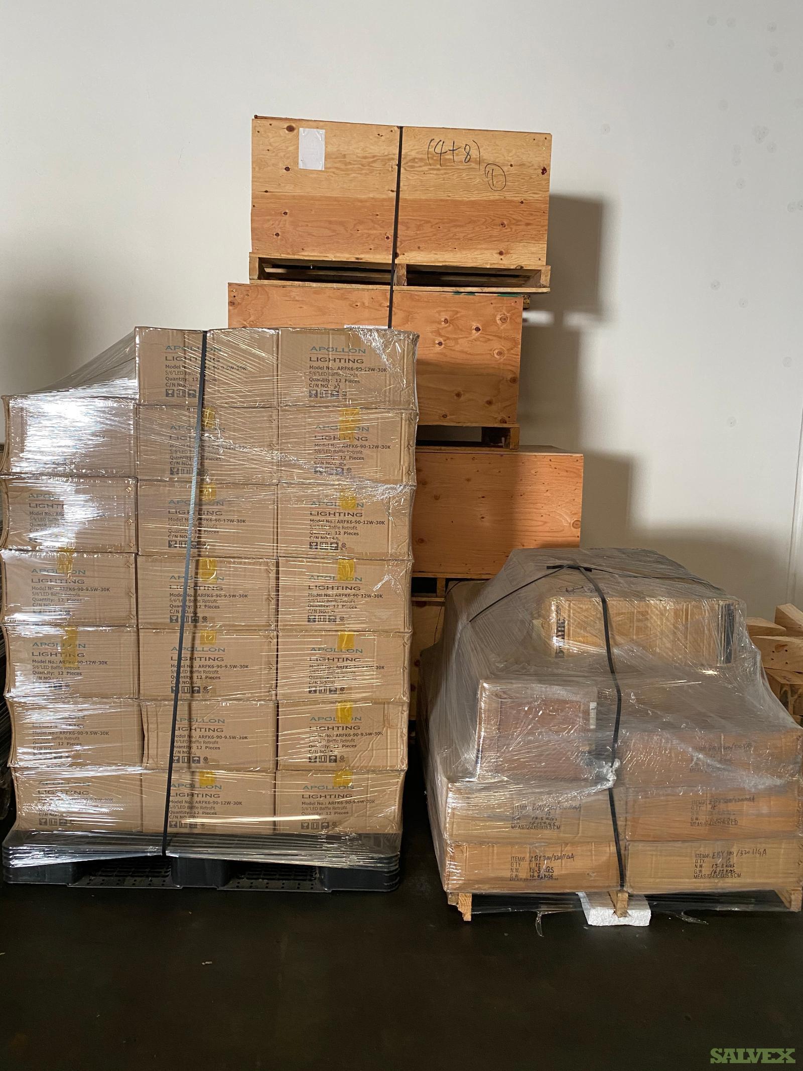 Electrical Parts: Led Trims, B Line Enclosures, Panel Back Boxes, Panel Board (888 units - 14 Pallets Total)