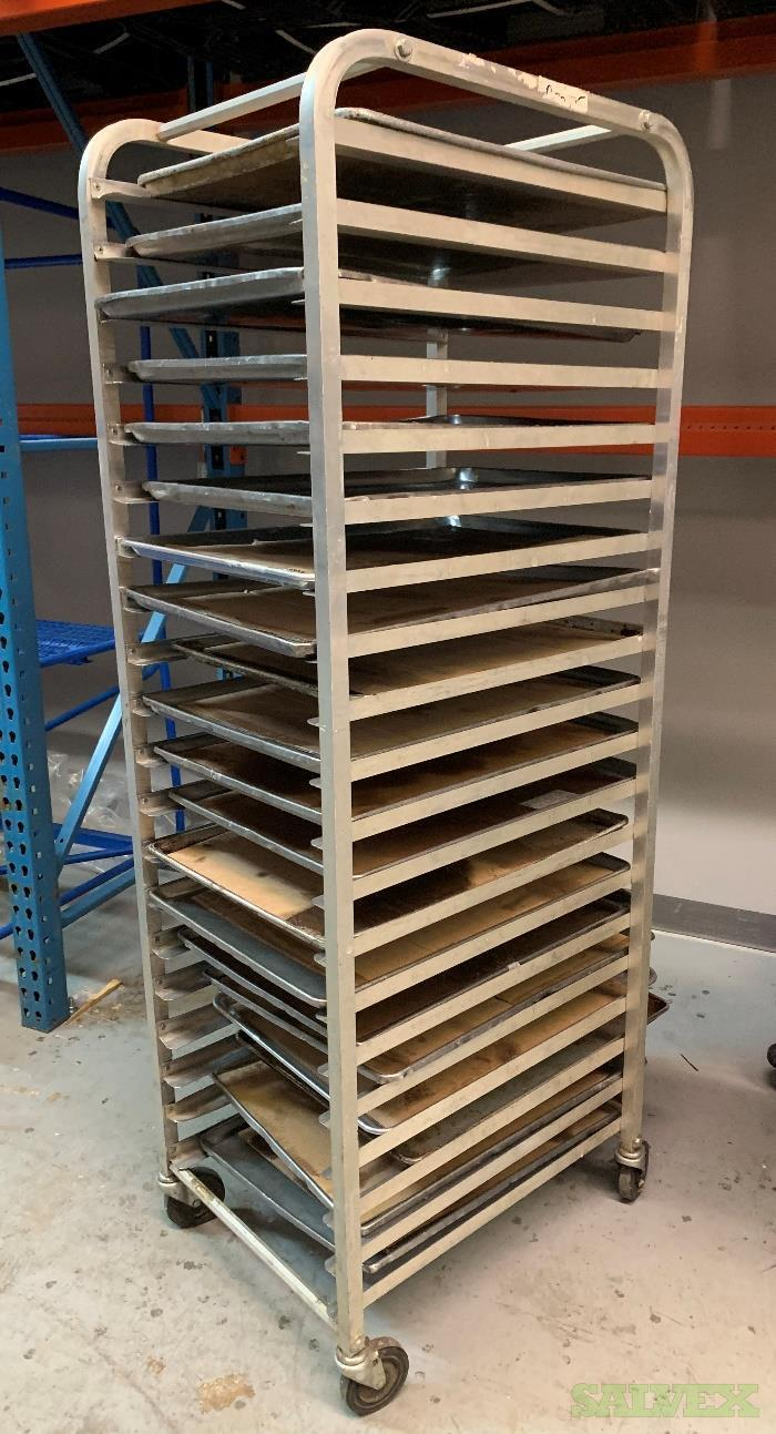 Stainless Steel Moveable Tray Racking with Large Trays, and Stainless Steel Sink (5 Full Sets)