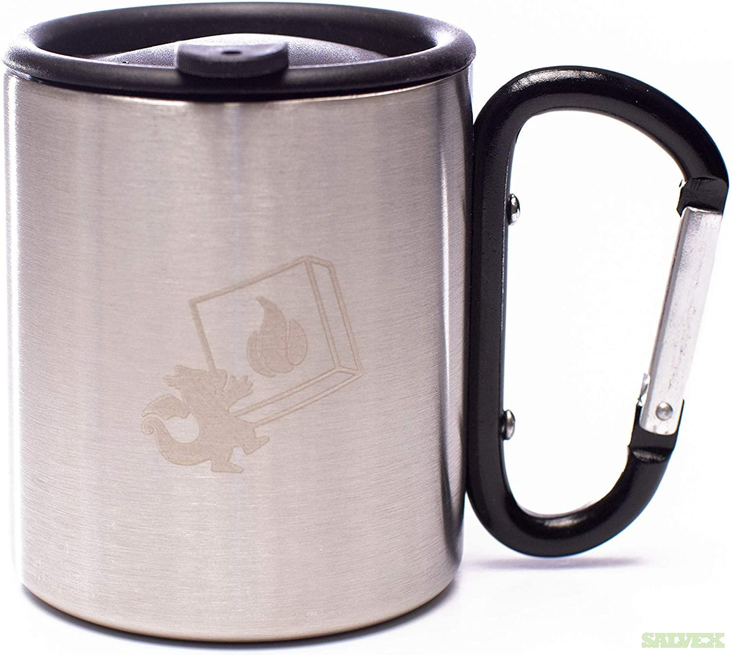 DragonEra Stainless Steel Mug with Carabiner Handle and Cover (460 Units)