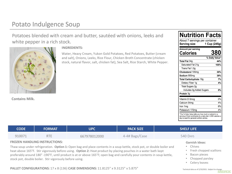 Frozen Soups: CS Creamy Tomato Basil Bisque, SS Chicken Enchilda W/SMK Paprika. etc. (4/4lbs 16lb case)