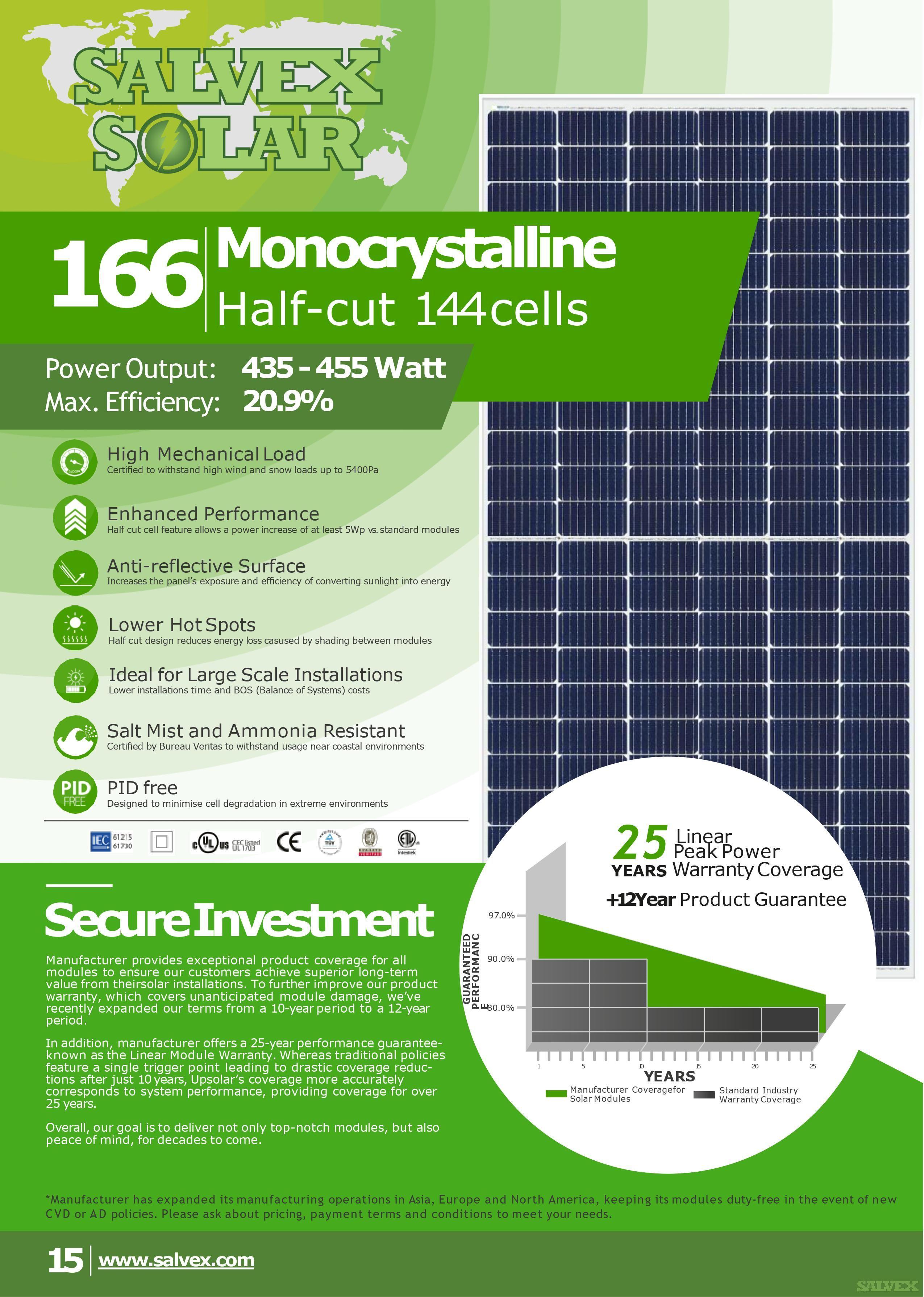 Salvex Solar 450W Monocrystalline PV Solar Panels (Minimum Order: 1 x 40HQ Container)