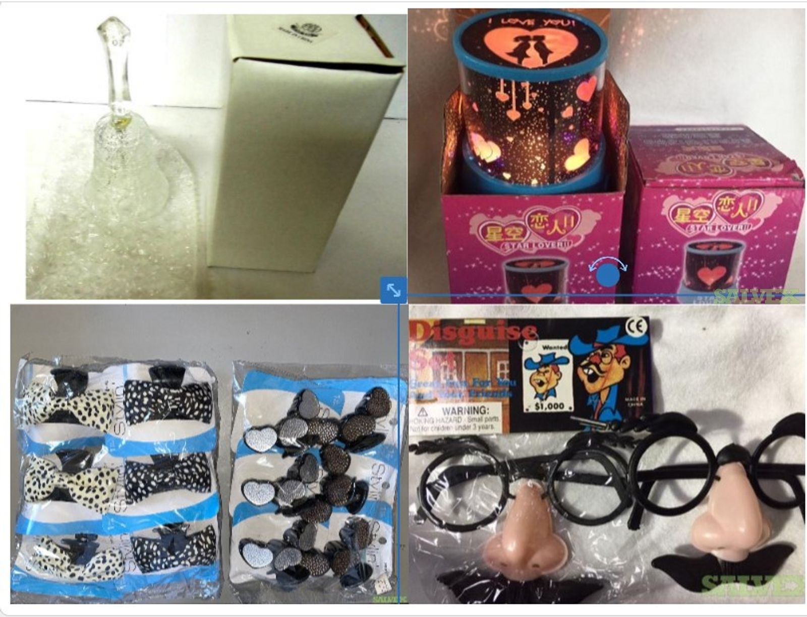 Dollar Store Merchandise : Battery Operated Lamp Hearts and Stars, Disguise Costume Funny Face Glasses, Glass Bells, Hair Accessories For Adults And Children (9200 Units) in NY