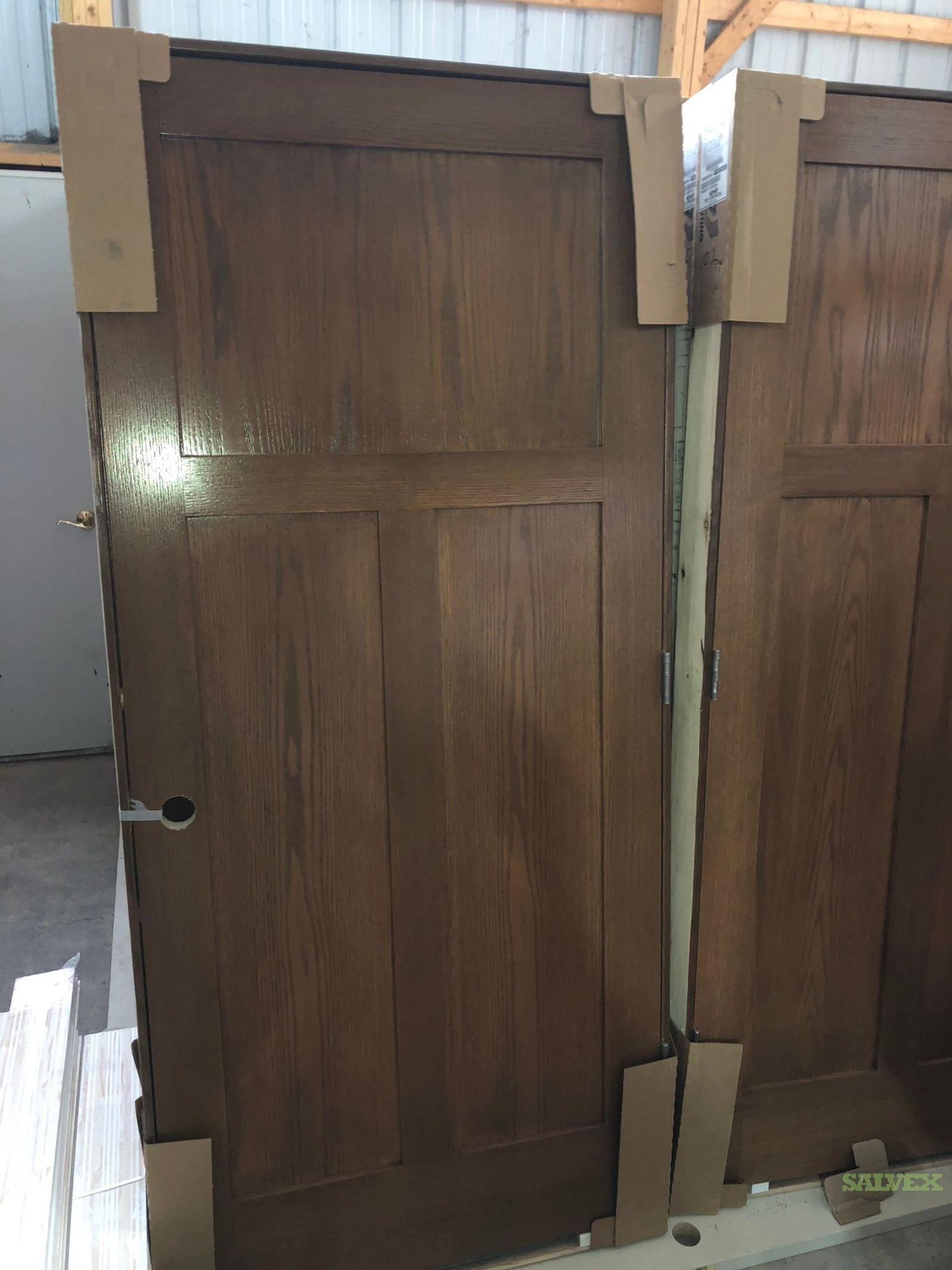 3-panel Flat Oak Doors / Jambs in Wisconsin  (1 Lot)