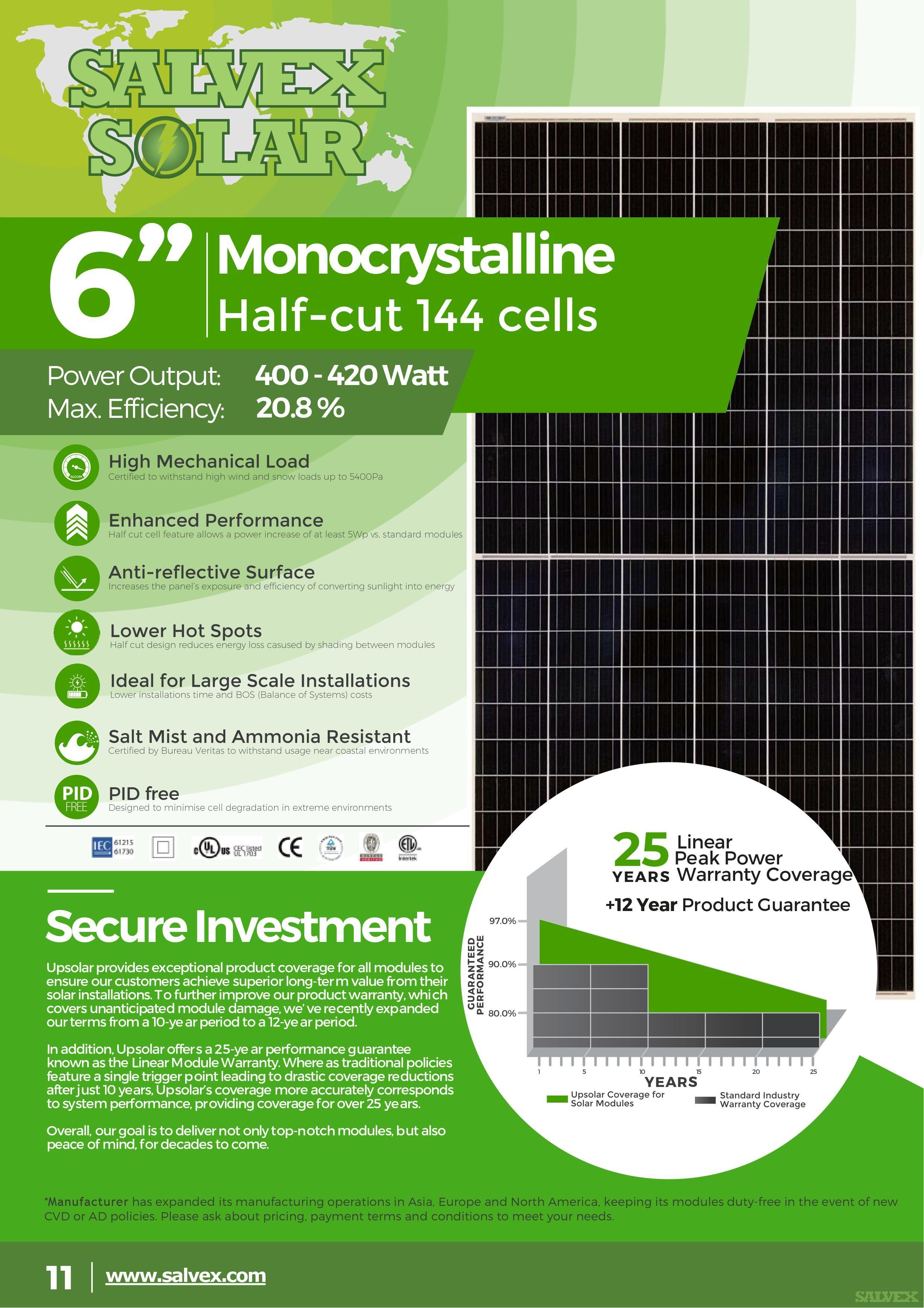 Salvex Solar 410W Monocrystalline PV Solar Panels (Minimum Order: 1 x 40HQ Container)