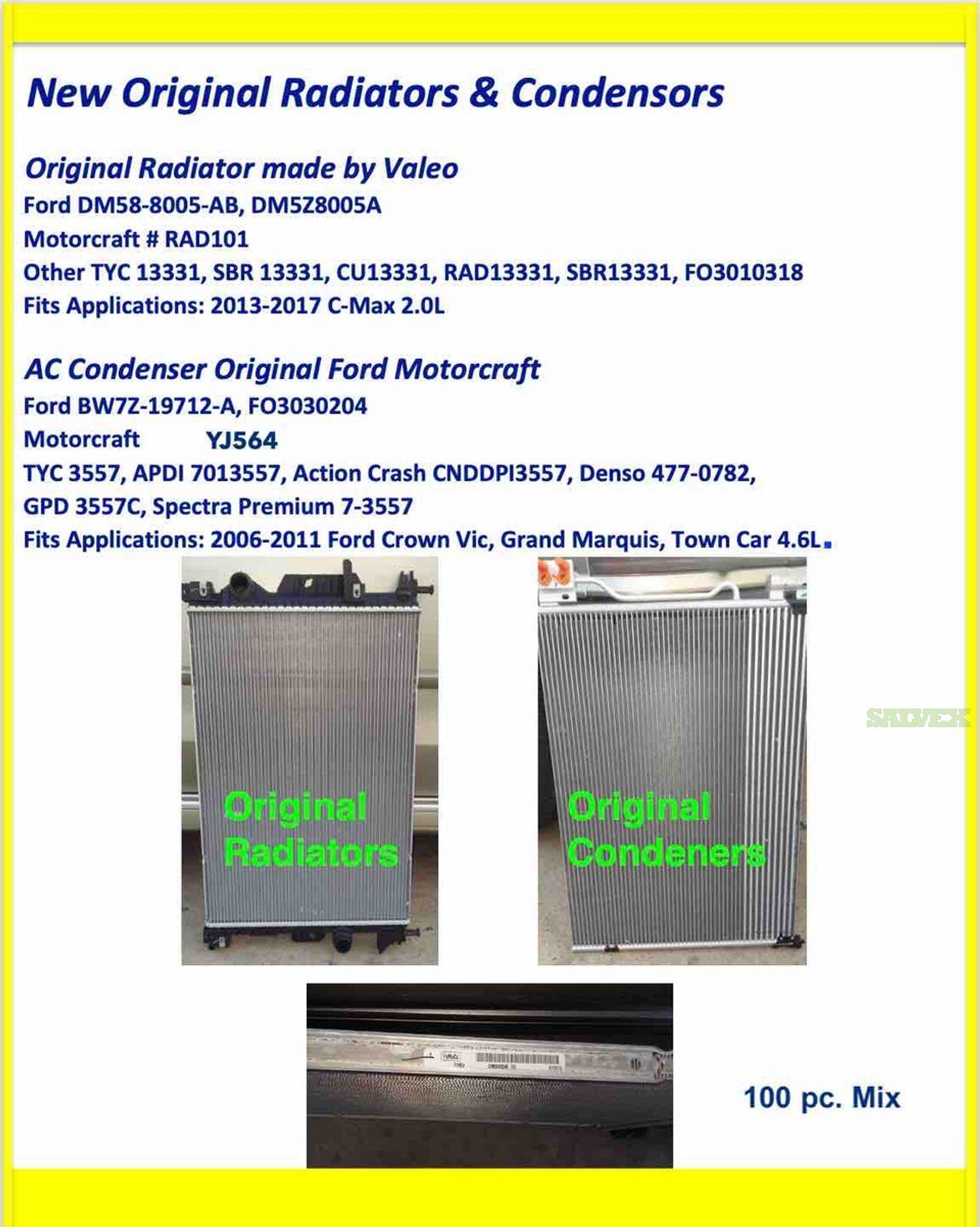 Valeo Radiators & Original Ford Motorcraft Condensers (100 Pcs)